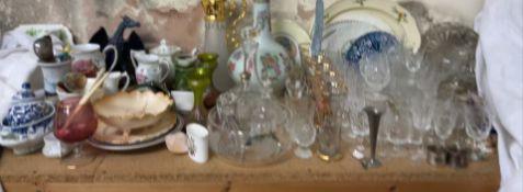 A Cantonese porcelain bottle vase together with a claret jug, glass vases, drinking glasses,