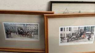 A pair of coaching prints together with other decorative pictures