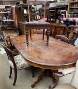A set of four Victorian mahogany dining chairs together with a walnut dining table and another