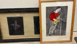 Philip Munday A saxophonist Watercolour Signed Together with two tapestry pictures