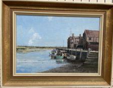 20th century British School Blakeney Harbour Oil on board Indistinctly signed