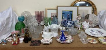A crystal table lamp together with drinking glasses, glass vases, Masons pottery plates,