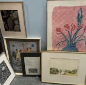 A David Hockney print together with pebble photographs,