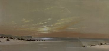 Spencer Lee Shoreline Watercolour Initialled 41 x 82.