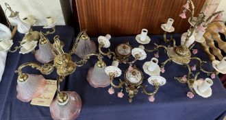 A ceramic and gilt metal six branch chandelier together with a pair of ceramic wall lights and two