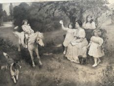 After Arthur Elsley Children with a pony and dog A print Together with a companion (a pair)