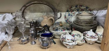 A Masons Regency pattern part dinner set, together with a pottery jug, electroplated wares,