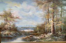 Scott Myerds River Scene Oil on canvas Signed