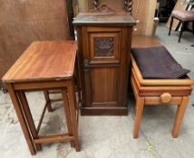 A Victorian walnut pot cupboard together with a nest of two tables and a piano stool