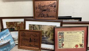 A collection of decorative prints, collages,