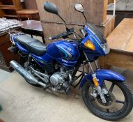 A Yamaha YBR125 motorcycle, in blue registration number CN58 BVZ, Sorn, No Mot,