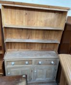 A Victorian pine dresser, with a waterfall rack,