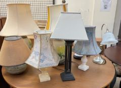 Assorted table lamps, pottery,