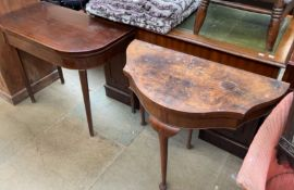 A 19th century mahogany card table with a D shaped top on square tapering legs together with a