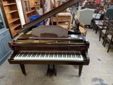 A Ross and Hamilton baby grand piano, with a lacquered mahogany case, overstrung movement,