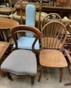 A Victorian mahogany dining chair together with another dining chair and a pair of stick back