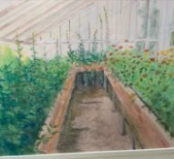 Olivia Temple Greenhouse interior Watercolour Together with a large quantity of prints, etchings,