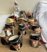 A collection of Royal Doulton character jugs, including W G Grace, Len Hutton, Brian Johnson,