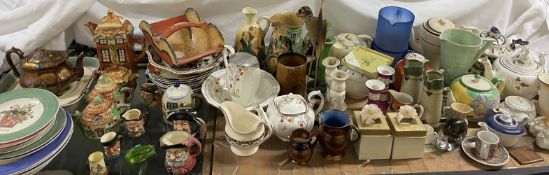 A Royal Doulton Ewer together with teapots, candlesticks, jugs, Royal Doulton character jugs,