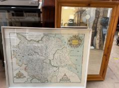 A pine framed wall mirror together with a framed map