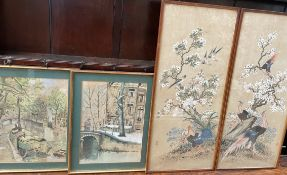Evelyn J Wolfe Canal boats Watercolour Together with a companion similar and a pair of Japanese
