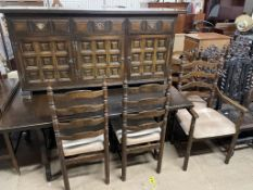 A 20th century oak dining table,
