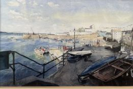 Roy Mason Harbour scene Watercolour Signed
