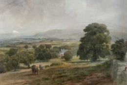 Arthur Miles Landscape scene with cattle in the foreground Watercolour Together with two other