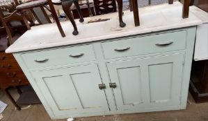 A Victorian painted pine dresser base with two drawers and two cupboards