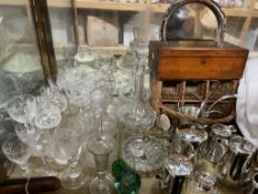 Glass decanters together with cut glass wine glasses, glass vases, electroplated wares,