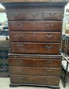 A George III oak chest on chest,