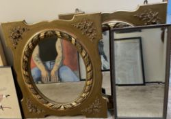 A pair of gilt framed wall mirrors together with another mirror