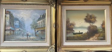 J Watts A river scene Oil on canvas Signed Together with another oil painting of a street scene