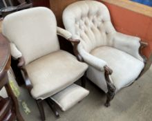 A Victorian button back upholstered walnut framed library chair together with another elbow chair