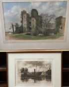 James Scrase Castle Near St Martin Pastels Signed Together with an etching of SS Great Britain