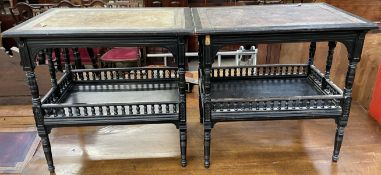 A pair of Aesthetic period ebonised tables of rectangular form with tooled leather tops on ring