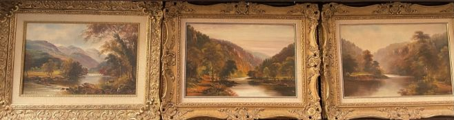 George Willis Pryce River scene Oil on canvas Signed Together with two others similar