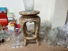 A collection of perfume bottles together with glass vases, glass sundae dishes, paperweights,