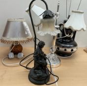 A table lamp, the figural base of a boy and his dog,