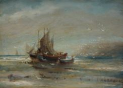 F Abraham Ships moored off the coast Oil on board Signed 21 x 29.