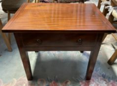A pine and mahogany side table with a rectangular top above a drawer on square legs