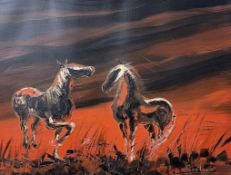 Jean Cook Horses in a landscape Oil on canvas Signed Together with two Eric Street watercolours