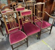 A set of three Edwardian rosewood inlaid salon chairs together with a pair of Edwardian mahogany