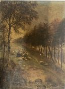 William Davies Sheep in a woodland Oil on board Signed