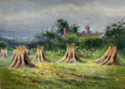 Ethel Fowler Corn stooks Watercolour Signed and dated 1932