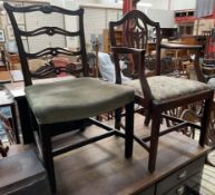 A George III mahogany camel back dining chair,