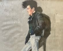 Chris Stevens Cafe Central Oil on board Together with another portrait oil painting