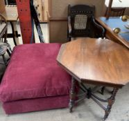 An upholstered foot stool together with an octagonal topped occasional table and a bergere armchair