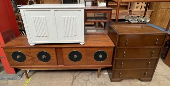 A teak sideboard together with a painted coffer and an oak chest of drawers