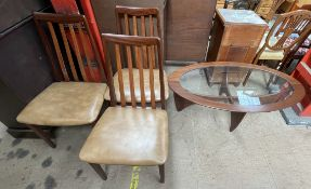 A set of three mid 20th century G-Plan teak dining chairs together with a mid 20th century teak